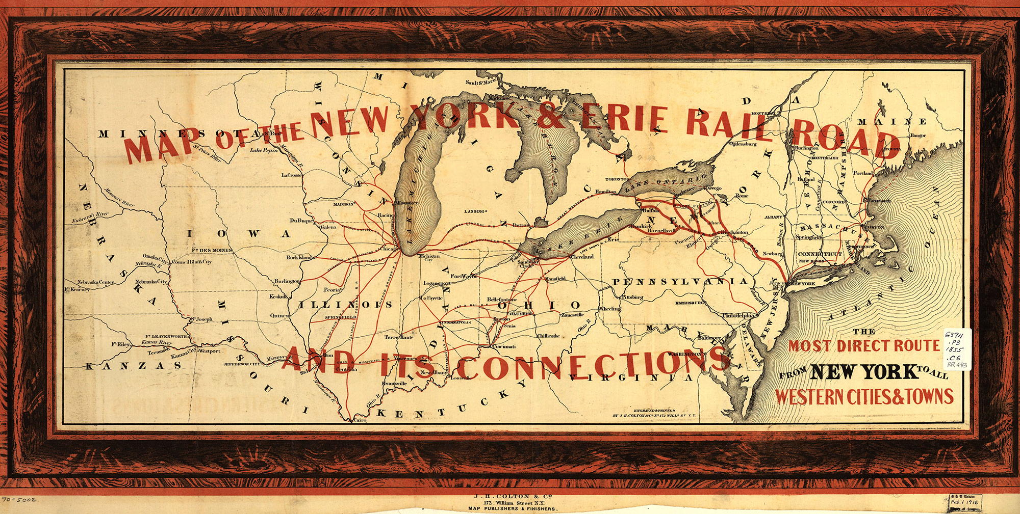 1855 Erie Railroad map